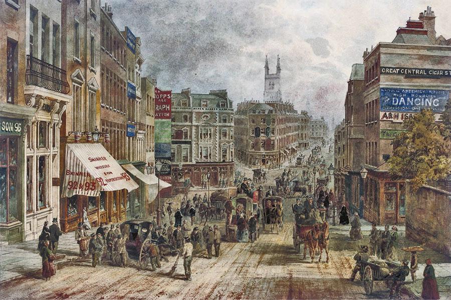 Архитектура века Городские постройки в Лондоне в конце 19 в Акварель неизвестный художник
