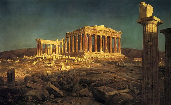 Парфенон (Parthenon) 447—432 г. до н. э. Афины. Создатели - Иктин и Калликрат. Декор  скульптора Фидия. Картина Фредерика Эдвина Чёрча «Парфенон» (Frederic Edwin Church The Parthenon) 1871 г.