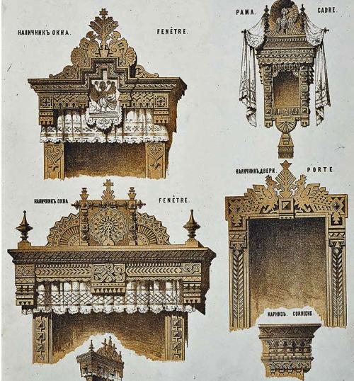 Рисунок наличников и рамы загородного дома из книги 19 века «Мотивы русской архитектуры» под редакцией А. Рейнбота.