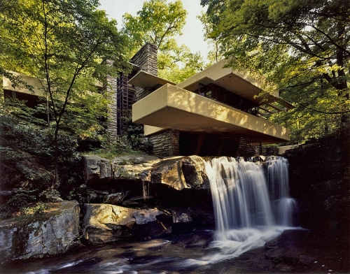 "Особняк Е. Кауфмана ""Дом над водопадом""(""Fallingwater""). Архитектор Райт. Штат Пенсильвания. 1936 г."